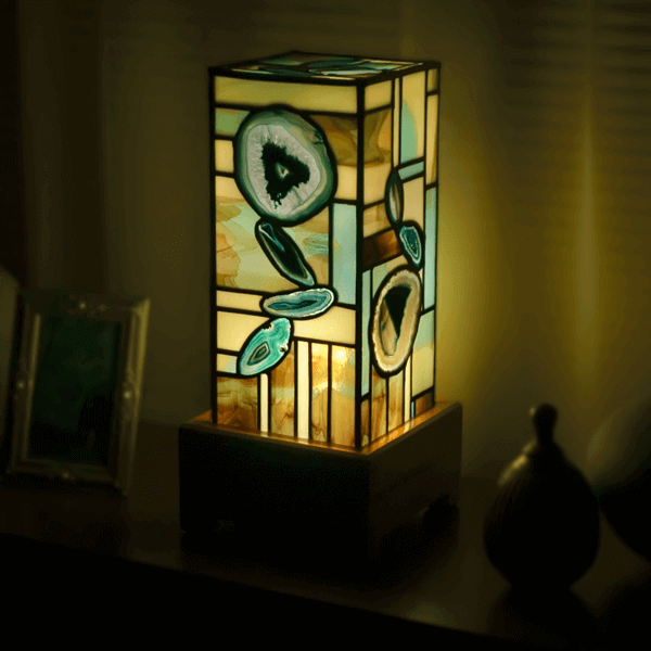Beautiful teal colored agate lamp 1961 for sale