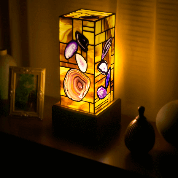 Purple Colored Agate And Stained Glass Lamp 1959 For Sale