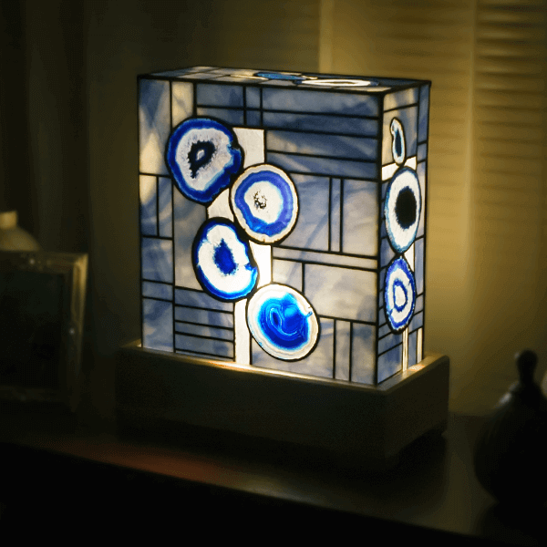 Blue colored agate lamp 1960 for sale