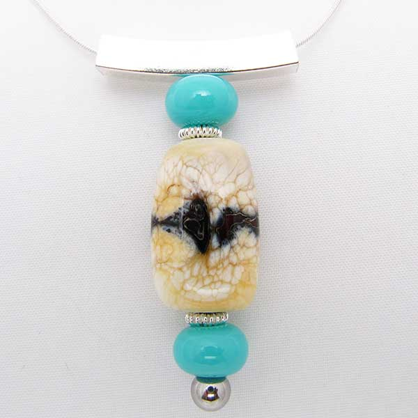 Ivory and Turquoise Colored Glass Bead Pendant Sterling Silver Necklace