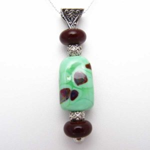 Chocolate Chip Mint Colored Glass Bead Pendant Sterling Silver Necklace