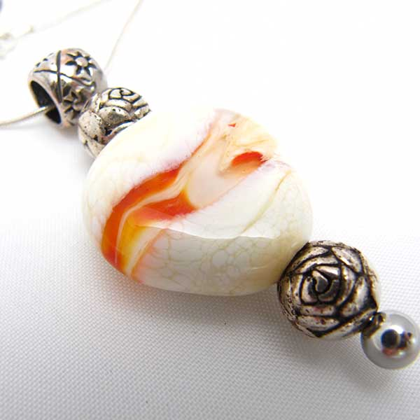White and Orange Swirl Bead Pendant Sterling Silver Necklace