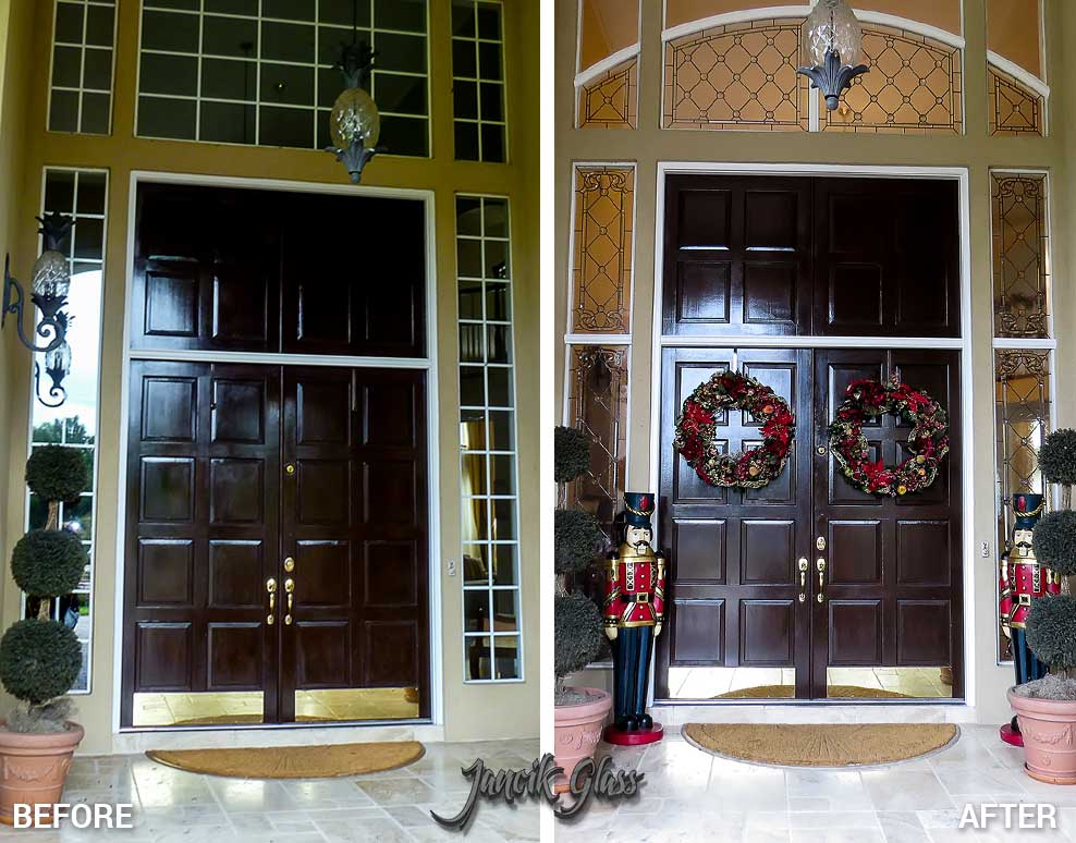 Residential beveled glass entry