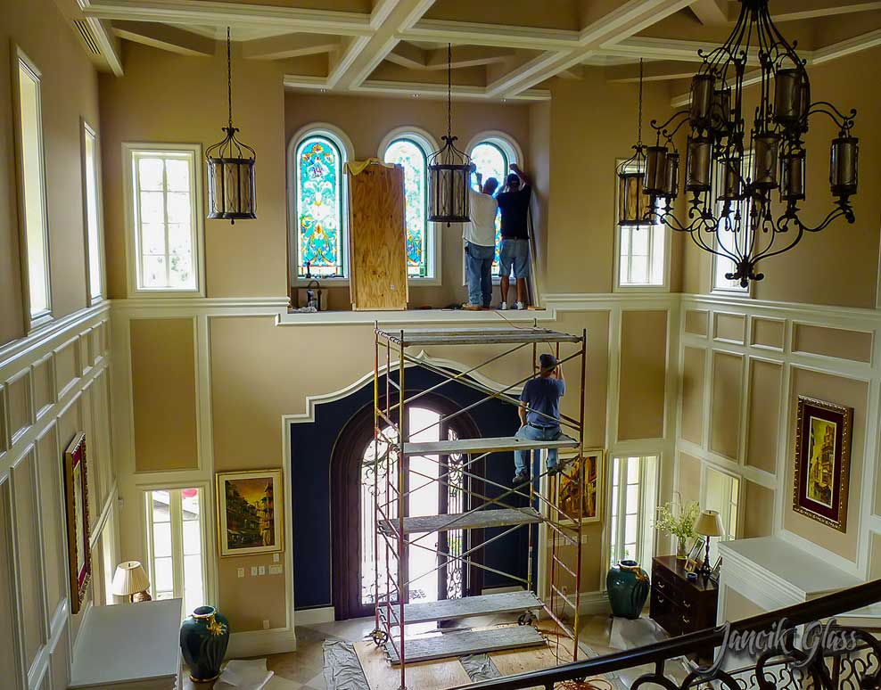 Residential stained glass windows installation