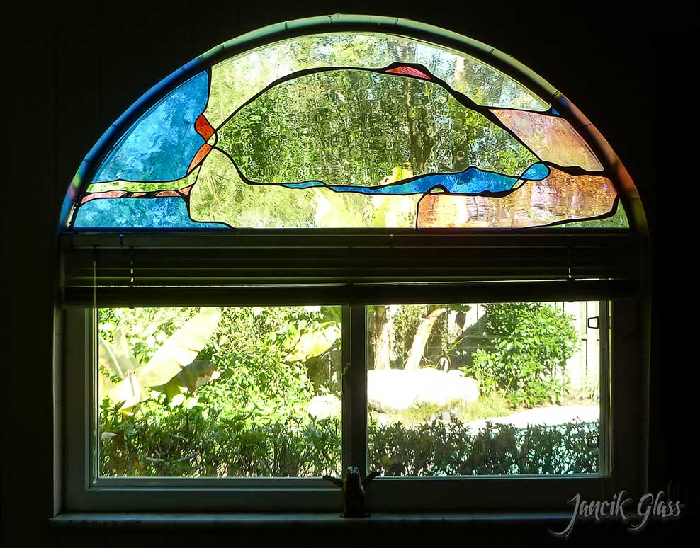 Residential contemporary stained glass window
