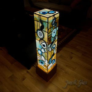 Tall teal agate floor lamp