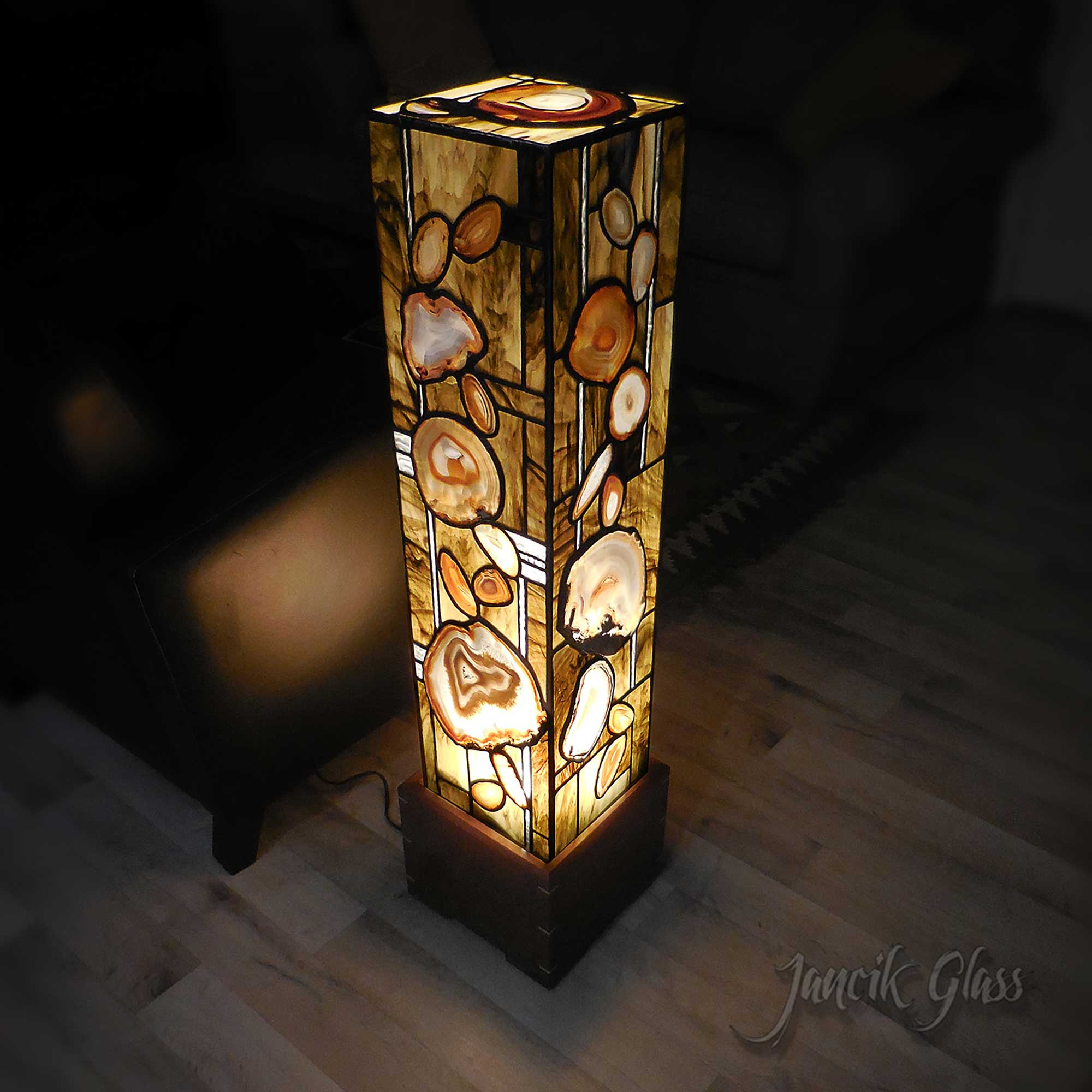 Tall agate floor lamp
