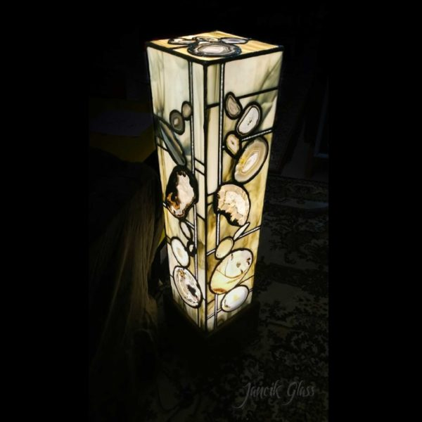 Tall grey agate lamp