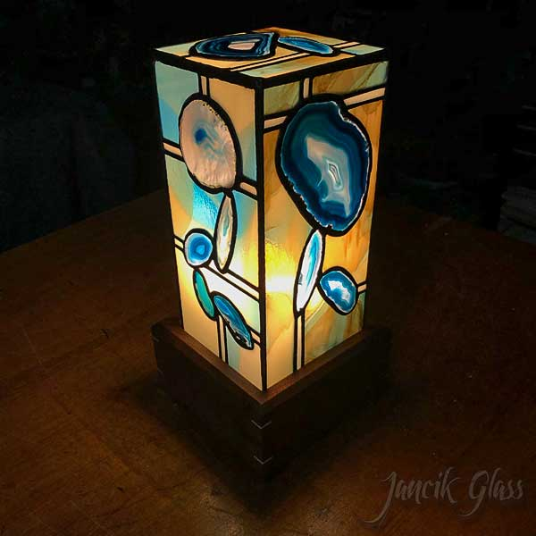 Teal agate lamp 2020b